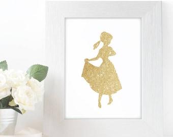 "Gold Glitter Anna Frozen Silhouette,  5x7"" 8x10"" incld., DIGITAL PRINTABLE File, Gold Sparkle Design Silhouette, Disney Princess Decor"