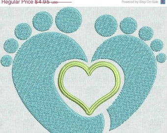 50 Percent OFF Instant Download Machine Embroidery Designs Baby Feet Heart 2 sizes PES Format Exclusive