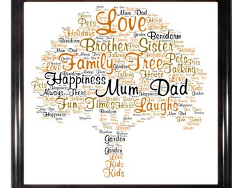 Personalised Family Tree A4 Glossy Word Art Print