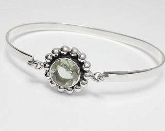 925 Sterling Silver Green Amethyst Gemstone Bangle