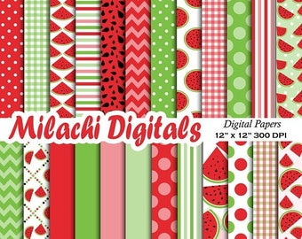 60% OFF SALE Watermelon digital paper, picnic scrapbook papers, watermelon background, wallpaper, commercial use - M543