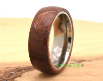 Wood Ring,Mens Titanium Wedding Band Wooden Ring,Promise Ring for Men, Wedding Band Wood Hawaiian Koa Wood Inlay,Wood Titanium Ring Mens