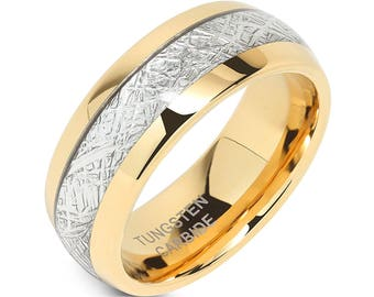 14K Gold Tungsten Ring w/ Brilliant Silver Simulated Meteorite Inlay, Intricate 8mm Men's and Women's Wedding Band, Sizes 5-15 w/ Half Sizes