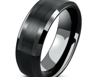 mens 8mm black tungsten ring with polished beveled edges black wedding engagement band mens - Tungsten Mens Wedding Rings