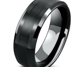 mens 8mm black tungsten ring with polished beveled edges black wedding engagement band mens - Tungsten Mens Wedding Ring