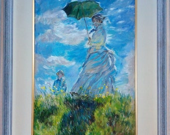 Copy , hand made , copy of Monet , The Walk, Woman With A Parasol