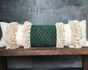 Long Offwhite African Mudcloth Ethnic Emerald Green Velvet  Pillow | Boho Pillow | Tribal | Handira | Berber | Fringe Pillow | Tassel Pillow