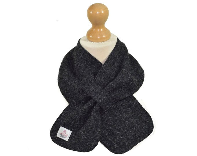 Harris Tweed & Liberty Reiko Print Charcoal Grey Wool Neck Scarf