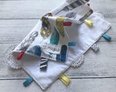 Baby Taggy Comforter, security blanket, baby Gift - Feathers on white