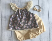 3 Piece Baby Set - Top with lace sleeves and Bloomers and matching headband - Sizes 000, 00, 0, 1, 2