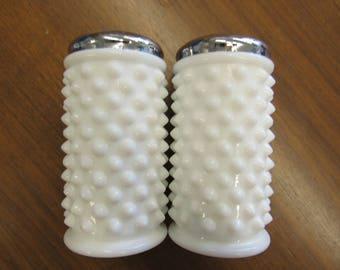 "Milk Glass Hobnail Salt and Pepper Shakers 4.5"" tall"