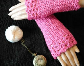 Lace fingerless gloves Bohemian fuchsia