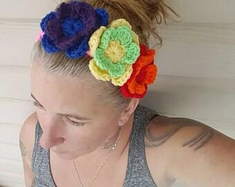 Pride Headband/Crochet Headband/Pride Headwear/Rainbow Headband/Pink Headband/flower headband