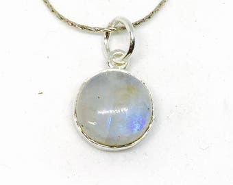 Rainbow Moonstone Pendant/ necklaces set in Sterling silver 925. Natural authentic moonstone. Length -