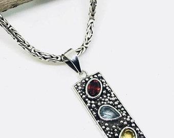 10% Garnet, citrine, bluetopaz multigemstone pendant, necklaces set in sterling silver 925. Natural authentic gemstones. Length-1.75 inch.