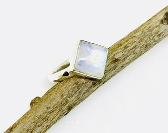 Moonstone ring set in Sterling silver 92.5.Natural authentic rainbow moonstone . Ring size -6