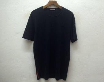 Authentic PRADA Milano Black TShirt Sz L Made in Tunisia