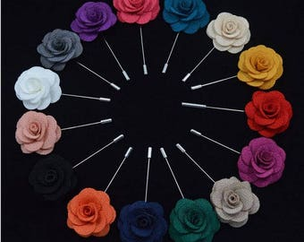 Trendy Handmade Cloth Roses Corsage ,  Men's Lapel Pin Accessories, wedding boutonniere YTG05