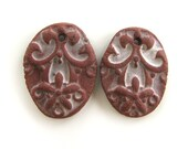 Earrings Beads - ceramic beads, antique coins, rustic ceramic beads, retro beads, crafted rustic beads, aged beads, unique design