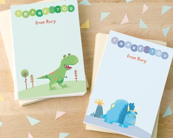 Personalised Dinosaur Thank You Cards (2 designs available) -- Minimum order 8