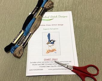 Australian fauna cross stitch chart - Superb Fairy Wren.  PDF instant download