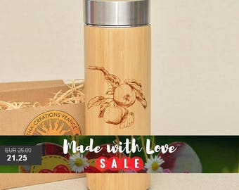 Original Bamboo Thermos Wooden Flask 380 ml Engraved Wood APPLES Stainless Steel with Screw Lid
