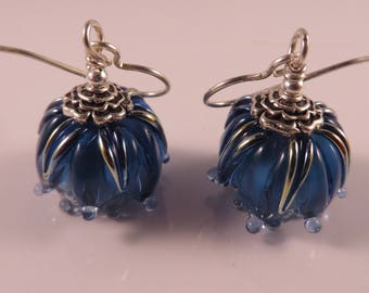 Handmade Lampwork Blue Flower Earrings,Sterling Silver Earrings,Floral Lampwork,Dark Blue Bud Glass Bead