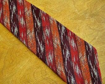 Vintage retro 1970s Prova mens wide kipper tie stripy textured rust necktie