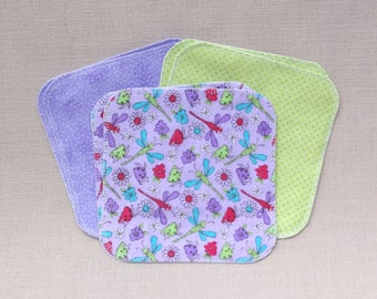 Ecofriendly Flannel Wipes, Set of 6, 2 ply; Reusable Children's Napkins, Baby Wipes, or Diaper Wipes