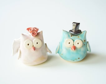 Wedding Cake Topper, Owl Cake Topper,  Ceramic Cake Topper, Bird Wedding Cake Topper, Little Owl Ceramic Cake Topper by Her Moments