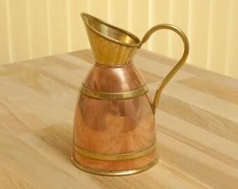 Vintage Peerage Copper And Brass Water Jug Pitcher ref ...