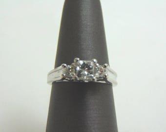 Womens Vintage Estate 14k White Gold Diamond Engagement Ring 4.0g E1260