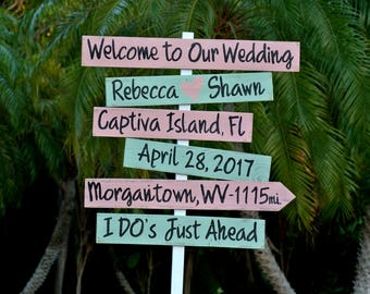 Rustic Directions Arrows Beach Wedding Sign, Nautical Wedding Decor,  I Do's Sign, Wedding Gift idea