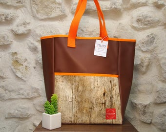 Small oilcloth tote bag wood