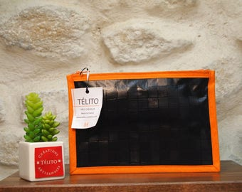 Black and orange Plaid oilcloth pouch