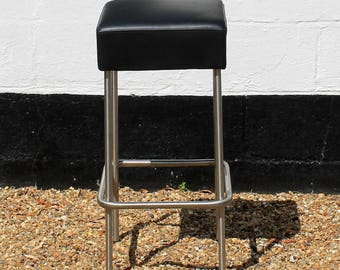 Chrome and Leather Square Seat Kitchen Bar Stool