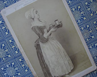 "Antique German Gallery Card, ""The Chocolate Girl"" by Jean-Etienne Liotard, Sepia Tones, Mid 1800's"