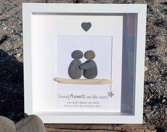 Friends are like Stars... Cornish Pebble Art Picture