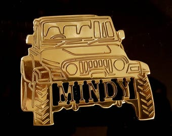Jeep Wrangler Custom name belt Buckle: Your Name Personalized Polished Brass, Rose Gold, or Chrome