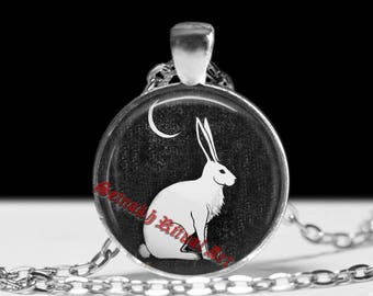 Wiccan hare pendant, Black jewelry, Gothic necklace, witchcraft, witch moon, pagan, celtic amulet #475