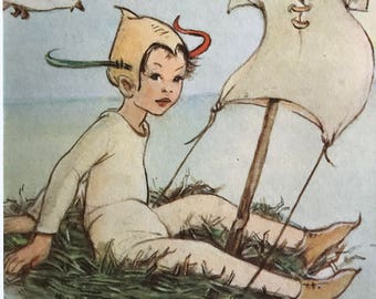 1961-Illustration-Mabel Lucie Attwell-Peter Pan-Sailing-Wendy-Fairies-Matted-Ready to frame-Nursery-Home decor