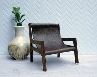 miniature leather sling chair 112 brown