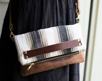 leather clutch, leather handbag, leather crossbody, leather bag, woven bag, boho leather handbag