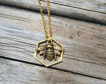 Gold Bee Necklace, Hexagon Charm Necklace, Bee Necklace, Honeycomb necklace, Gifts for her, Nature, Insect Necklace, Gold Bee