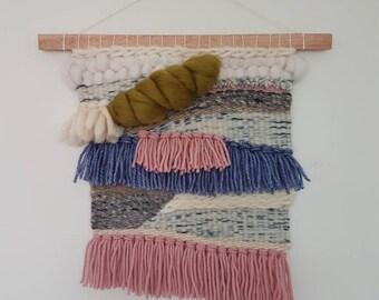 Medium weaved wall hanging in merino wool / READY TO SHIP