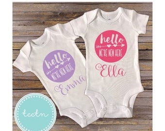 ON SALE Twin Girls Hello We're New Here One Piece Bodysuits Set | Twins Newborn Baby Outfit | Twin Girls Going Home Outfit