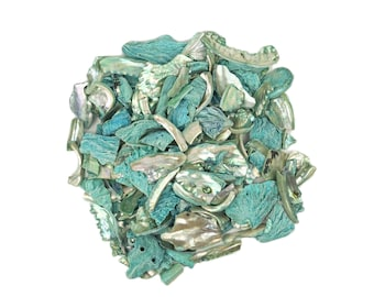 Turquoise Dyed African Abalone Pieces: Assorted Sizes. 1 KG bag  (2.2 pounds) (220-TP-TQ)