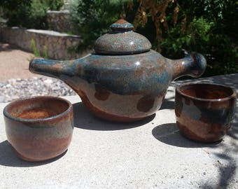 Earth and Sky Tea Set - Teapot with two tea bowls in earthy blues and browns.