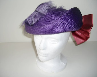 Mr. Charles Purple Straw Hat, Feather, Bow, Easter, Wedding, Church, Vintage