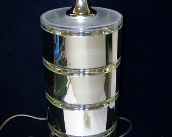 Optique Lucite Mirrored Stack Lamp Mid Century Modern Vintage 1985